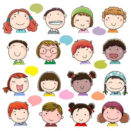 caras felices: Mano niños dibujadas se enfrenta a configurar