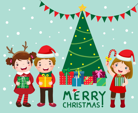 boxs: Illustration of happy cute kids with gift boxs near christmas tree Illustration