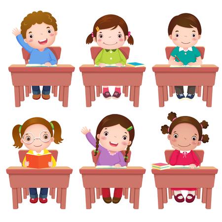 Coleção de crianças em idade escolar, sentado na mesa Ilustración de vector