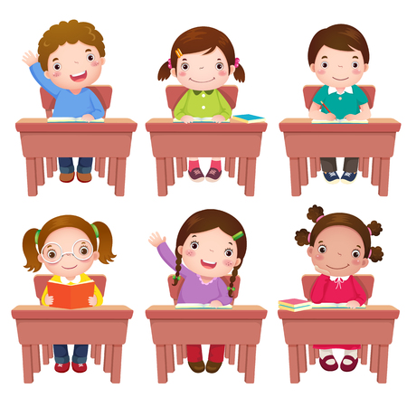 Collection of school kids sitting on table
