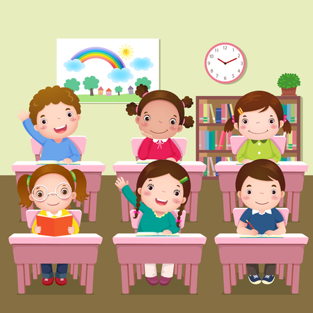 Ilustración de los niños escolares que estudian en el aula