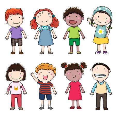 Het verzamelen van gelukkige kinderen Stock Illustratie