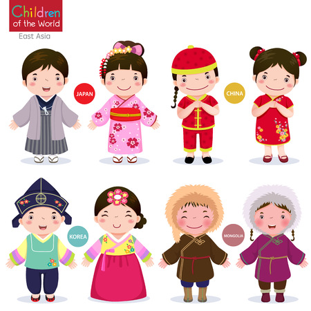Kids in traditional costume Japan, China, Korea and Mongolia Ilustração