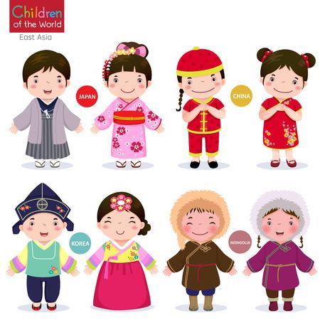 Miúdos no traje tradicional do Japão, China, Coreia e Mongólia