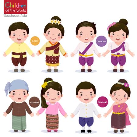 Bambini in costume tradizionale; Laos, Cambogia, Myanmar e Thailandia Vettoriali
