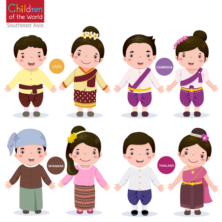 asean: Kids in traditional costume; Laos, Cambodia, Myanmar and Thailand