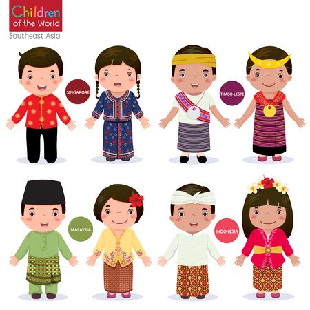 amistad: Los niños en traje tradicional; Singapur, Malasia, Timor Oriental e Indonesia