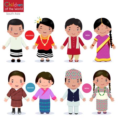 Los niños en el traje tradicional de Maldivas, India, Bután y Nepal Vectores