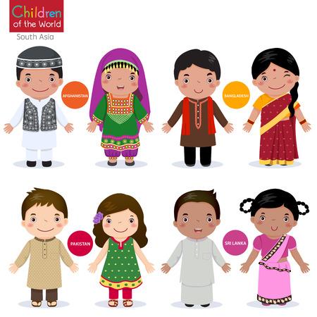 traje: Crianças em traje tradicional Afeganistão, Bangladesh, Paquistão e Sri Lanka Ilustração