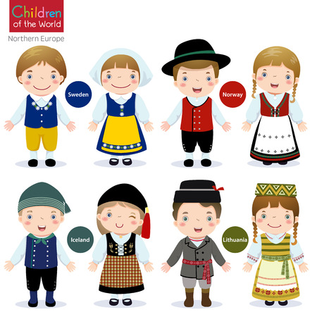world group: Kids in traditional costume Sweden, Norway, Iceland and Lithuania