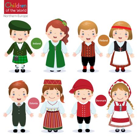 Crianças em traje tradicional Irlanda, Finlândia, Estónia e Dinamarca Ilustração