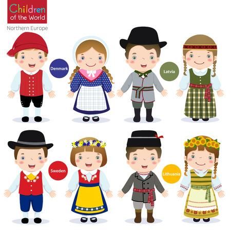 Crianças em traje tradicional Dinamarca, Letónia, Suécia e Lituânia