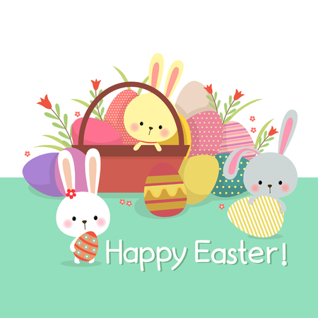 poster art: Easter illustration with colored eggs and cute bunnies on spring background