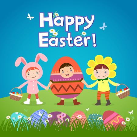Illustration of cute children wearing Easter theme costumes