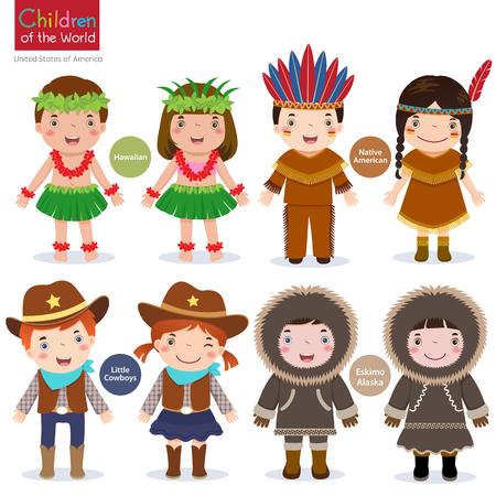 Crianças em traje tradicional-EUA-havaiano-Native American-Cowboys-Eskimo