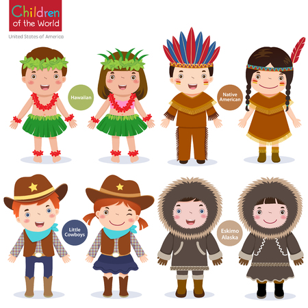 girl in red dress: Kids in traditional costume-USA-Hawaiian-Native American-Cowboys-Eskimo