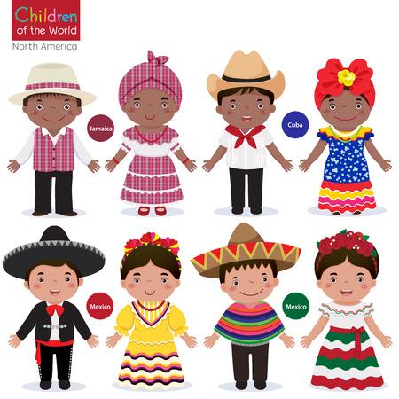 Los niños en diferentes trajes tradicionales de Jamaica, Cuba, México Foto de archivo - 53195107