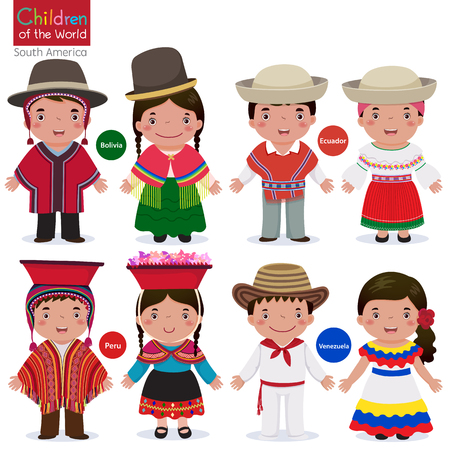 nationalities: Kids in traditional costume-Bolivia-Ecuador-Peru-Venezuela Illustration