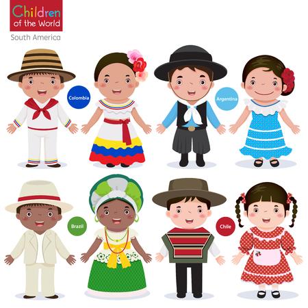 伝統的な衣装-コロンビア-アルゼンチン-ブラジル-チリの子供たち  イラスト・ベクター素材