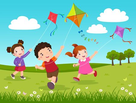niños jugando caricatura: Ilustración del vector de tres niños volando cometas en el parque