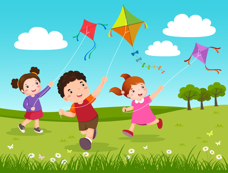 child smiling: Vector Illustration of three kids flying kites in the park