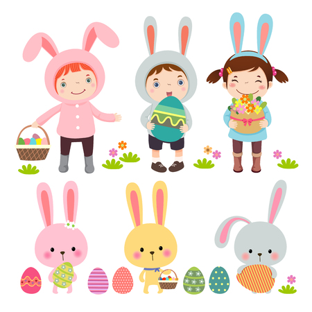Vector set of characters and icons on the Easter theme in cartoon style  イラスト・ベクター素材