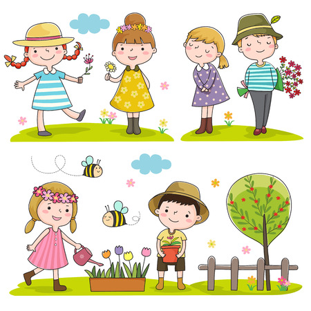 Collection of happy kids outdoor in spring season