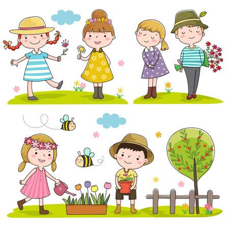 niños jugando en el parque: Colección de niños felices al aire libre en temporada de primavera