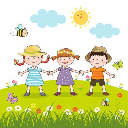 Felices los niños tomados de la mano en el prado en flor