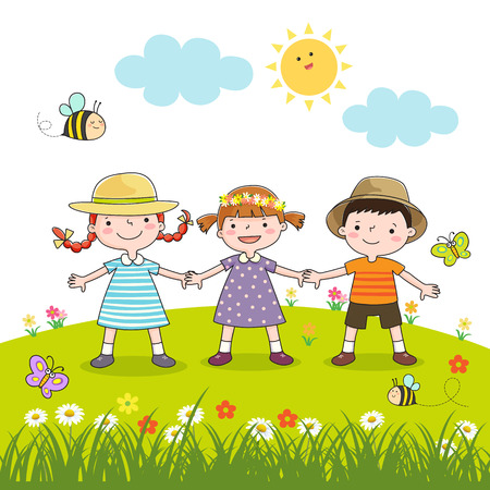 kids playing outside: Happy children holding hands on blossom meadow