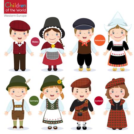 falda: Los niños en diferentes trajes tradicionales Gales, Holanda, Alemania, Escocia Vectores