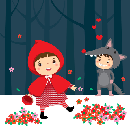 little red riding hood: Vector illustration of little red riding hood and gray wolf