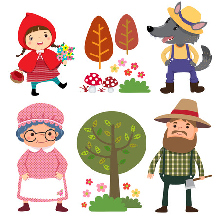 Set of characters from Little Red Riding Hood fairy tale Stock Illustratie