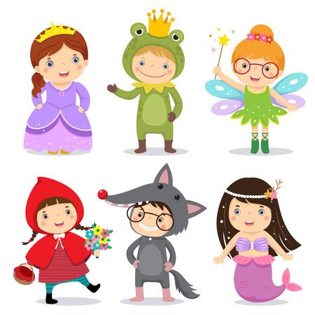 Zestaw dla dzieci ubranych w bajki tematu Ilustracje wektorowe
