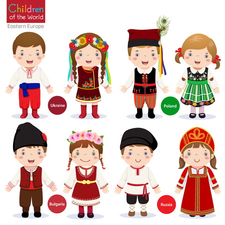 Kids in different traditional costumes Ukraine, Poland, Bulgaria, Russia