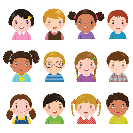 Vector illustration set of different avatars of boys and girls on a white background. Different skin tones, hair colors and styles.  イラスト・ベクター素材