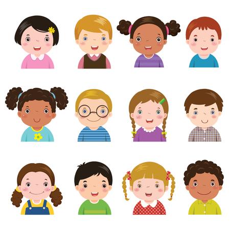 ilustracji wektorowych zestaw różnych awatarów chłopców i dziewcząt na białym tle. Różne odcienie skóry, kolory włosów i stylów.