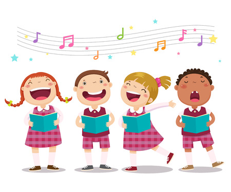 cartoon singing: Vector illustration of choir girls and boys singing a song