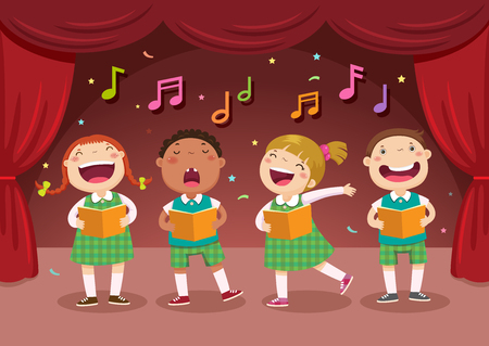 Vector illustration of children singing on the stage