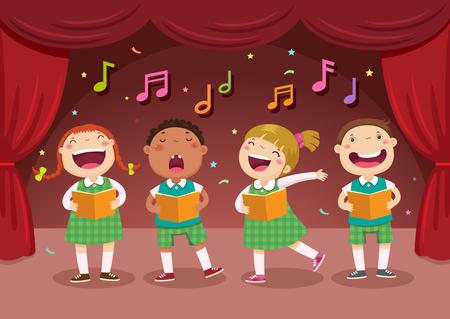 gente cantando: ilustraci�n vectorial de ni�os cantando en el escenario