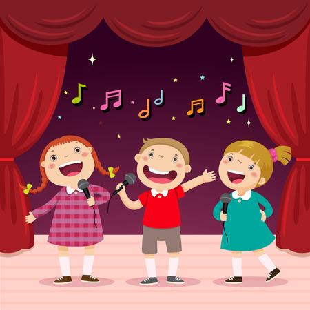 Ilustración vectorial de los niños cantar con un micrófono en el escenario