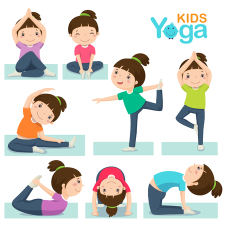 yoga class: Vector illustration of cute girl doing yoga on a white background.