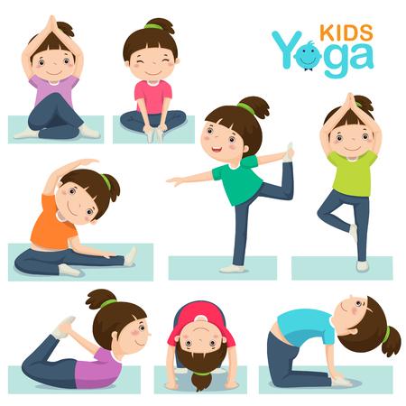 bewegung menschen: Vektor-Illustration des netten Mädchens auf einem weißen Hintergrund macht Yoga.