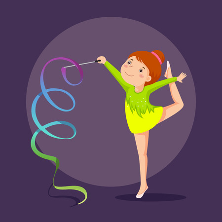 aerobics class: illustration of little girl gymnast performing with ribbon Illustration