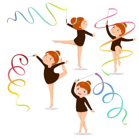 menina: Pouco ginasta praticando da menina com uma fita no fundo branco conjunto