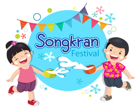 illustration of boy and girl enjoy splashing water in Songkran festival, Thailand Çizim