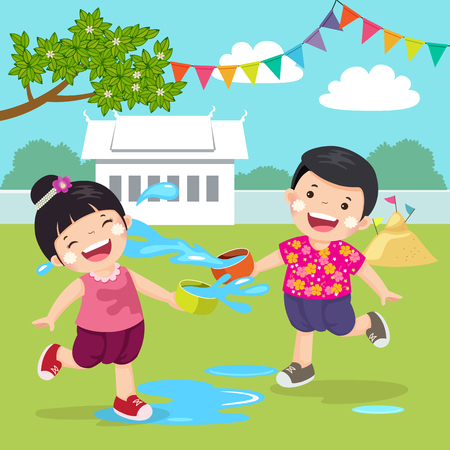summer clothes: illustration of Thai kids splashing water in Songkran festival at the temple in Thailand