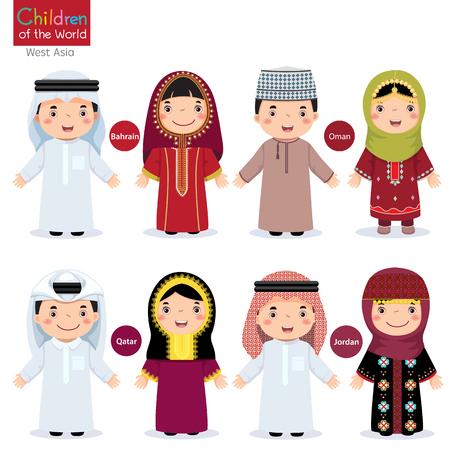 nene y nena: Los niños en diferentes trajes tradicionales (Bahrein, Omán, Qatar, Jordania) Vectores