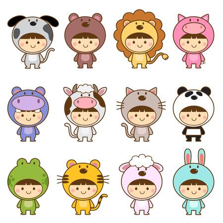 tigre caricatura: Conjunto de niños lindos trajes de animales