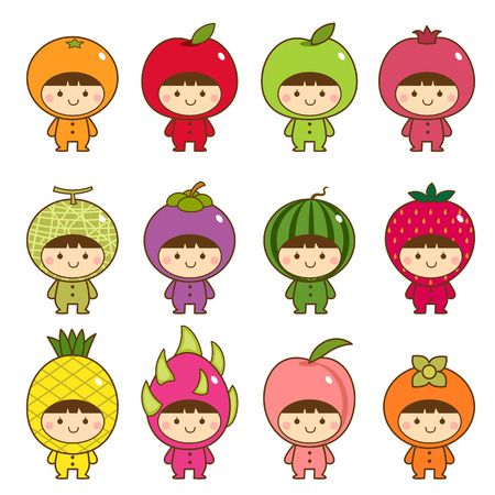 Set of kids in cute fruits costumes Çizim